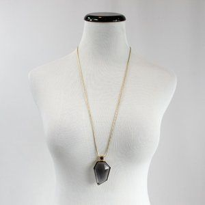 A New Day Beaded Long Gold Gray Pendant Necklace